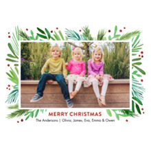 Christmas Photo Cards 5x7 Cards, Premium Cardstock 120lb with Elegant Corners, Card & Stationery -Christmas Foliage Border