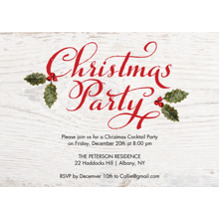 Christmas Party Invitations 5x7 Cards, Premium Cardstock 120lb with Scalloped Corners, Card & Stationery -Christmas Invite Rustic