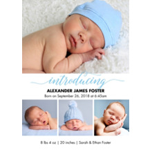 Baby Boy Announcements Flat Glossy Photo Paper Cards with Envelopes, 5x7, Card & Stationery -Baby Blue Introducing