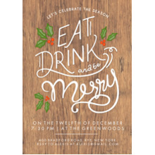 Christmas Party Invitations 5x7 Cards, Premium Cardstock 120lb with Rounded Corners, Card & Stationery -Christmas Invite Eat Drink Be Merry