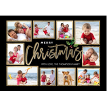 Christmas Photo Cards 5x7 Cards, Premium Cardstock 120lb with Rounded Corners, Card & Stationery -Christmas Gold Handwritten