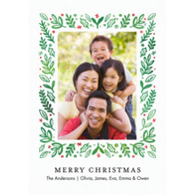Christmas Photo Cards 5x7 Cards, Premium Cardstock 120lb with Elegant Corners, Card & Stationery -Christmas Foliage Frame