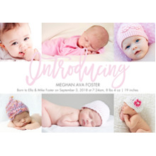 Baby Girl Announcements 5x7 Cards, Premium Cardstock 120lb with Elegant Corners, Card & Stationery -Baby Introducing Pink Script