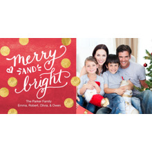 Christmas Photo Cards 4x8 Flat Card Set, 85lb, Card & Stationery -Christmas Merry & Bright Gold Dots