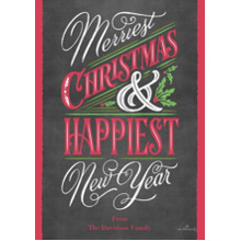 Christmas Photo Cards 5x7 Cards, Premium Cardstock 120lb with Rounded Corners, Card & Stationery -Merriest & Happiest Chalkboard