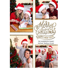 Christmas Photo Cards 5x7 Cards, Premium Cardstock 120lb with Scalloped Corners, Card & Stationery -Christmas Gold Borders