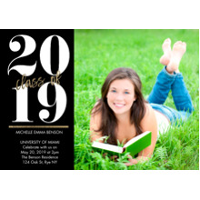2019 Graduation Announcements 5x7 Cards, Premium Cardstock 120lb with Rounded Corners, Card & Stationery -2019 Classic Year by Tumbalina