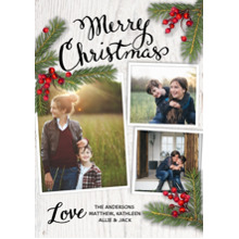 Christmas Photo Cards 5x7 Cards, Premium Cardstock 120lb with Rounded Corners, Card & Stationery -Christmas Pine Branches Berries White