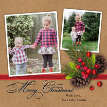 Christmas Photo Cards 5x5 Flat Card Set, 85lb, Card & Stationery -Christmas Pine Cones Red Ribbon