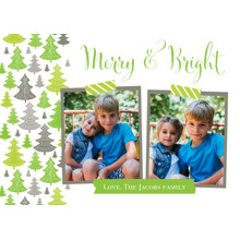 Christmas Photo Cards 5x7 Cards, Premium Cardstock 120lb with Rounded Corners, Card & Stationery -Merry & Bright Christmas Card