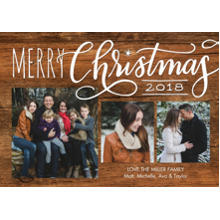 Christmas Photo Cards 5x7 Cards, Premium Cardstock 120lb with Scalloped Corners, Card & Stationery -Christmas 2018 Red Script by Tumbalina