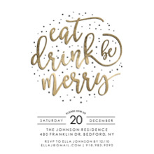 Christmas Party Invitations 5x7 Cards, Premium Cardstock 120lb, Card & Stationery -Holiday Invite Gold Script