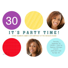 Birthday Party Invites 5x7 Cards, Premium Cardstock 120lb with Scalloped Corners, Card & Stationery -Party Time Colorful Dots 2-Photo