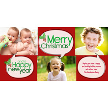 Christmas Photo Cards 4x8 Flat Card Set, 85lb, Card & Stationery -Christmas Holly