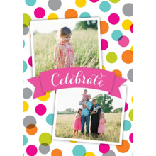 Birthday Greeting Cards 5x7 Folded Cards, Standard Cardstock 85lb, Card & Stationery -Celebrate Colored Polka Dots