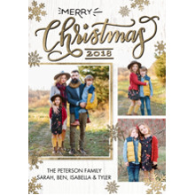 Christmas Photo Cards 5x7 Cards, Premium Cardstock 120lb with Scalloped Corners, Card & Stationery -2018 Christmas Snowflakes by Tumbalina