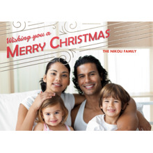 Christmas Photo Cards 5x7 Cards, Premium Cardstock 120lb with Rounded Corners, Card & Stationery -Happy Swirls of Merry