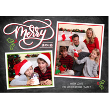 Christmas Photo Cards 5x7 Cards, Premium Cardstock 120lb with Rounded Corners, Card & Stationery -2018 Merry Script Collage by Tumbalina