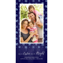 Christmas Photo Cards 4x8 Flat Card Set, 85lb, Card & Stationery -A Blanket of Snow - Dark Blue