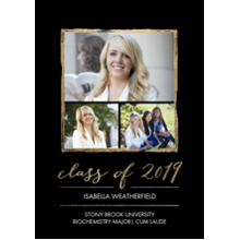 2019 Graduation Announcements 5x7 Cards, Premium Cardstock 120lb with Scalloped Corners, Card & Stationery -2019 Grad Gold Stroke by Tumbalina