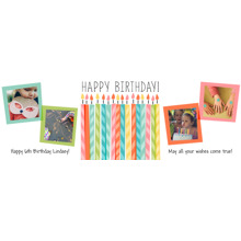 Birthday Photo Banner 1x3, Home Decor -Striped Candles