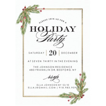 Christmas Party Invitations Flat Glossy Photo Paper Cards with Envelopes, 5x7, Card & Stationery -Holiday Invite Garland Corners