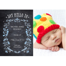 Baby Announcements Flat Matte Photo Paper Cards with Envelopes, 5x7, Card & Stationery -Baby Foliage Chalkboard 1 Photo