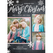 Christmas 5x7 Folded Cards, Standard Cardstock 85lb, Card & Stationery -Christmas Snowflakes Collage
