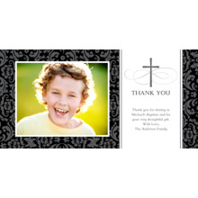 Christening + Baptism Flat Glossy Photo Paper Cards with Envelopes, 4x8, Card & Stationery -Thank You Cross Damask