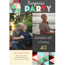 Birthday Party Invites 5x7 Cards, Premium Cardstock 120lb with Scalloped Corners, Card & Stationery -Geometric Gathering