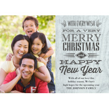 Christmas Photo Cards 5x7 Cards, Premium Cardstock 120lb with Rounded Corners, Card & Stationery -Wood Wall Christmas