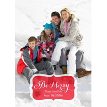 Christmas Photo Cards 5x7 Cards, Premium Cardstock 120lb with Scalloped Corners, Card & Stationery -Be Merry in Red by Posh Paper