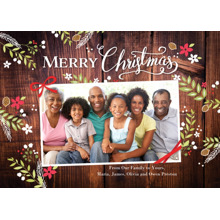 Christmas Photo Cards 5x7 Cards, Premium Cardstock 120lb with Elegant Corners, Card & Stationery -Christmas Rustic Floral Frame 1photo