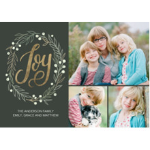 Christmas Photo Cards 5x7 Cards, Premium Cardstock 120lb with Elegant Corners, Card & Stationery -Christmas Joy Wreath Memories