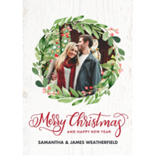 Christmas Photo Cards 5x7 Cards, Premium Cardstock 120lb with Scalloped Corners, Card & Stationery -Christmas Festive Wreath Berries