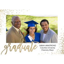2019 Graduation Announcements 5x7 Cards, Premium Cardstock 120lb with Rounded Corners, Card & Stationery -Grad Gold Sprinkles by Tumbalina