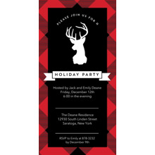 Christmas Party Invitations Flat Glossy Photo Paper Cards with Envelopes, 4x8, Card & Stationery -Holiday Reindeer Invite Plaid