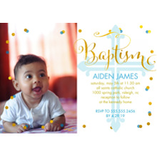 Christening + Baptism Flat Matte Photo Paper Cards with Envelopes, 5x7, Card & Stationery -Blue Baptism Confetti by Posh Paper
