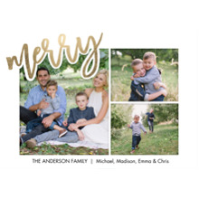 Christmas Photo Cards 5x7 Cards, Premium Cardstock 120lb with Elegant Corners, Card & Stationery -Christmas Merry Red Script