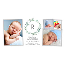 Baby Boy Announcements Flat Glossy Photo Paper Cards with Envelopes, 4x8, Card & Stationery -Baby Monogram Wreath