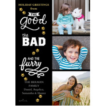 Christmas Photo Cards 5x7 Cards, Premium Cardstock 120lb with Rounded Corners, Card & Stationery -Good Bad and Furry