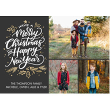 Christmas Photo Cards 5x7 Cards, Premium Cardstock 120lb with Elegant Corners, Card & Stationery -Christmas Watercolor Script by Tumbalina