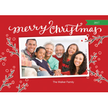 Christmas Photo Cards 5x7 Cards, Premium Cardstock 120lb with Rounded Corners, Card & Stationery -Christmas Red Berries