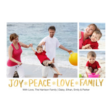Christmas Photo Cards 5x7 Cards, Premium Cardstock 120lb with Elegant Corners, Card & Stationery -Holiday Joy Peace Love Gold 3 Photo