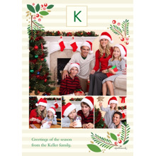 Christmas Photo Cards 5x7 Cards, Premium Cardstock 120lb with Rounded Corners, Card & Stationery -Classic Holly Monogram