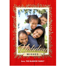 Christmas Photo Cards 5x7 Cards, Premium Cardstock 120lb with Elegant Corners, Card & Stationery -Golden Floral Woodgrain