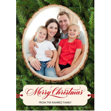 Christmas Photo Cards 5x7 Cards, Premium Cardstock 120lb with Elegant Corners, Card & Stationery -Merry Christmas Woodcut