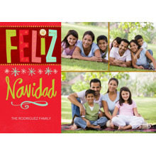 Christmas Photo Cards 5x7 Cards, Premium Cardstock 120lb with Scalloped Corners, Card & Stationery -Bright Feliz Navidad