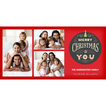 Christmas Photo Cards 4x8 Flat Card Set, 85lb, Card & Stationery -Merry Christmas Medallion