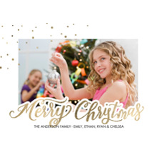 Christmas Photo Cards 5x7 Cards, Premium Cardstock 120lb with Rounded Corners, Card & Stationery -Christmas Sparkling Dots Corner